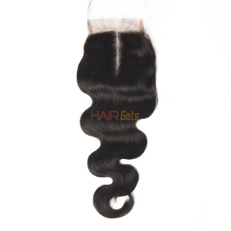 4*4 Unprocessed Virgin Hair Body Wave Lace Closure Natural Color 1