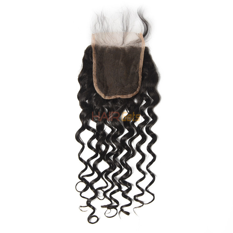 Cheapest Virgin Hair Water Wave Lace Closure, Natural Back 0