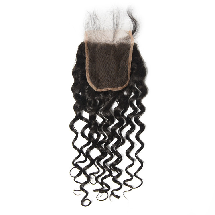 Cheapest Virgin Hair Water Wave Lace Closure, Natural Back lc007 0
