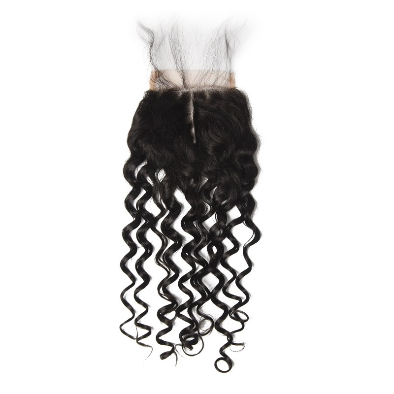 Cheapest Virgin Hair Water Wave Lace Closure, Natural Back lc007 1