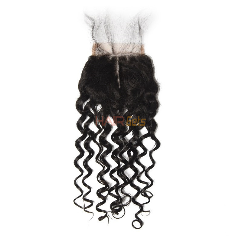 Cheapest Virgin Hair Water Wave Lace Closure, Natural Back 1
