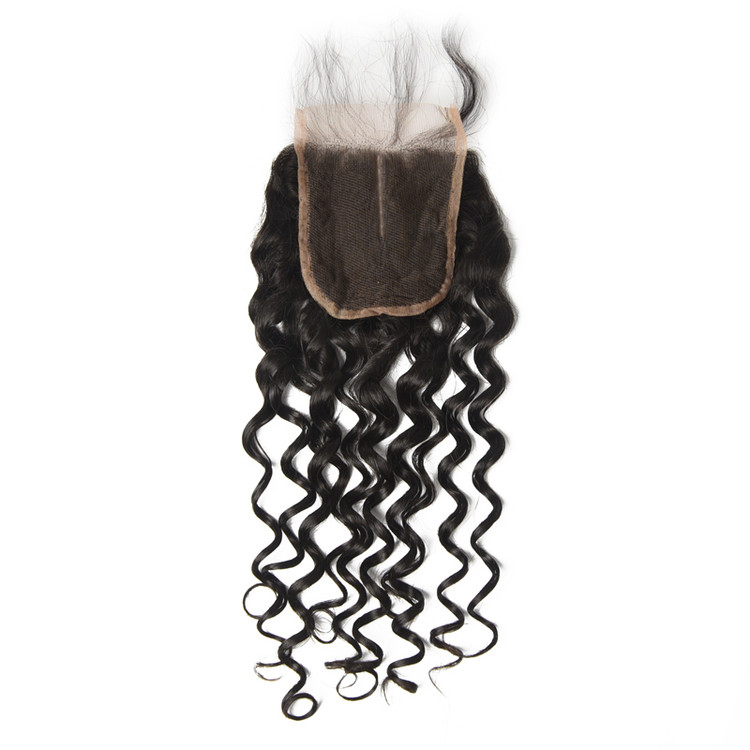 Cheapest Virgin Hair Water Wave Lace Closure, Natural Back lc007 2