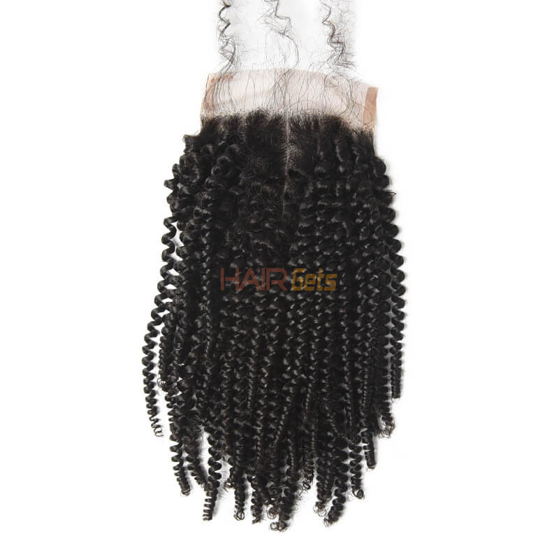Best Selling 4x4 Kinky Curly Virgin Human Hair Lace Closure For Women 1