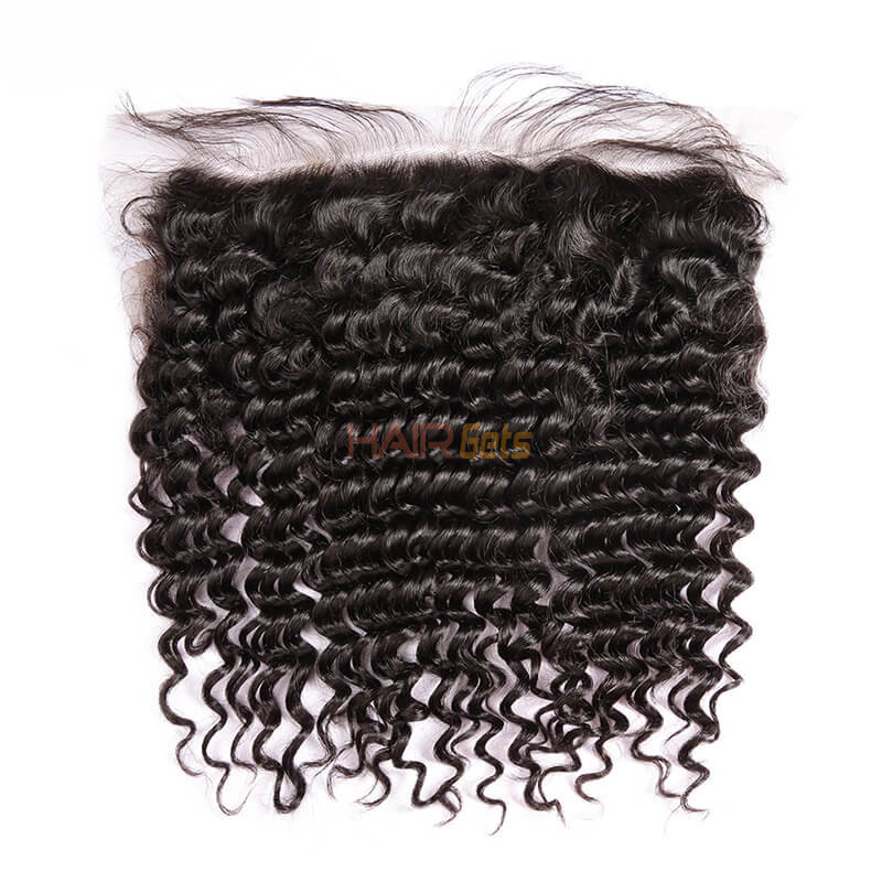 Cheapest Virgin Hair Deep Wave Lace Frontal, Natural Back 1