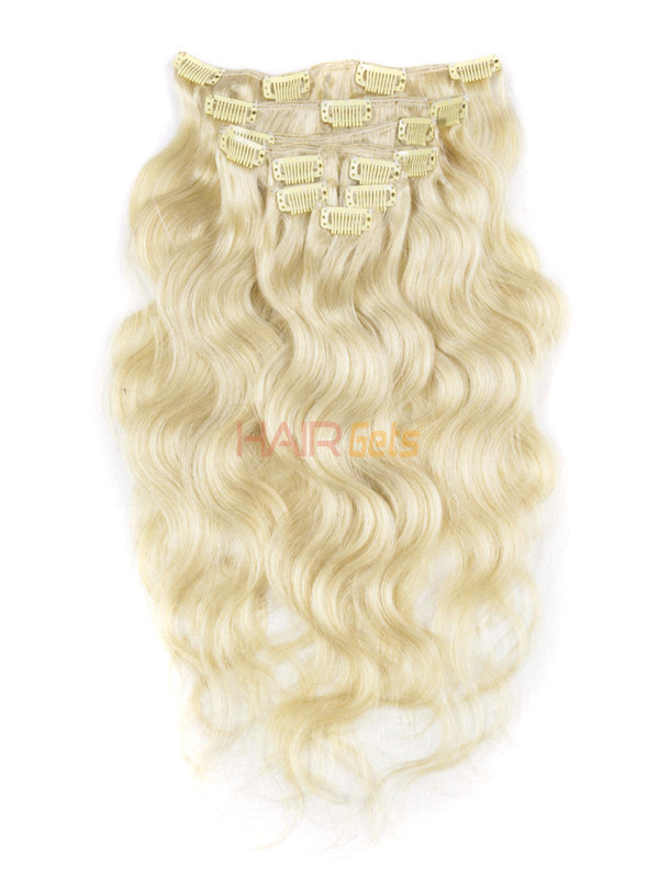Bleach White Blonde(#613) Ultimate Body Wave Clip In Remy Hair Extensions 9 Pieces 1