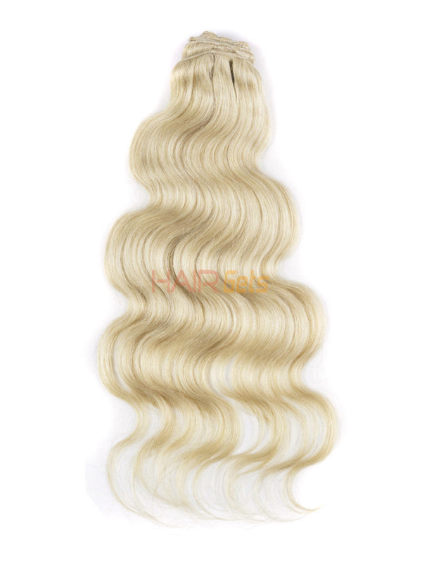 Bleach White Blonde(#613) Ultimate Body Wave Clip In Remy Hair Extensions 9 Pieces 2
