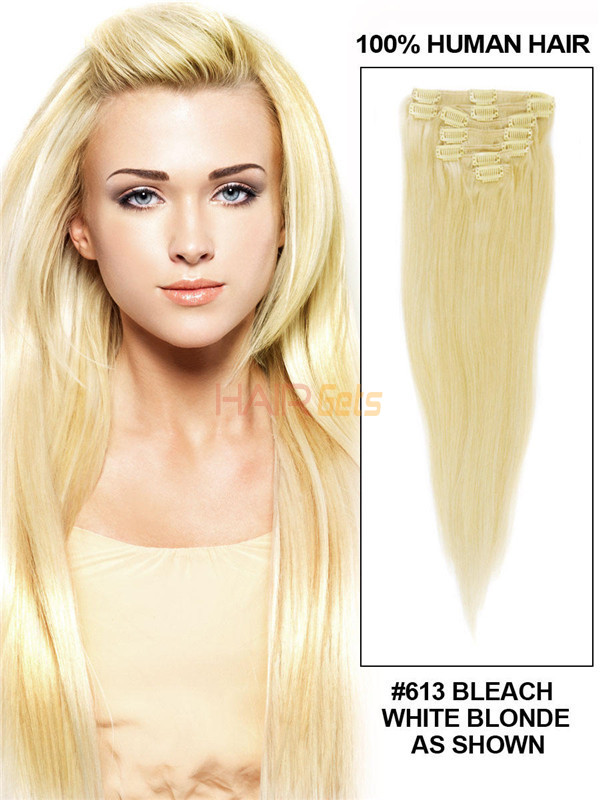 Bleach White Blonde(#613) Deluxe Straight Clip In Human Hair Extensions 7 Pieces 0