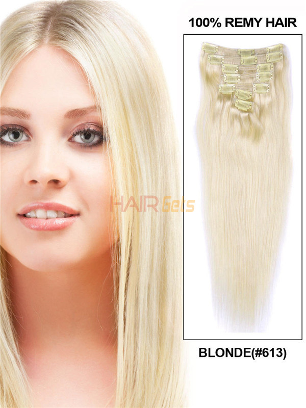 Bleach White Blonde(#613) Deluxe Straight Clip In Human Hair Extensions 7 Pieces 1