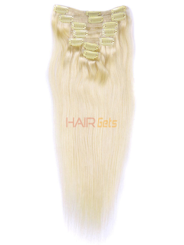 Bleach White Blonde(#613) Deluxe Straight Clip In Human Hair Extensions 7 Pieces 2