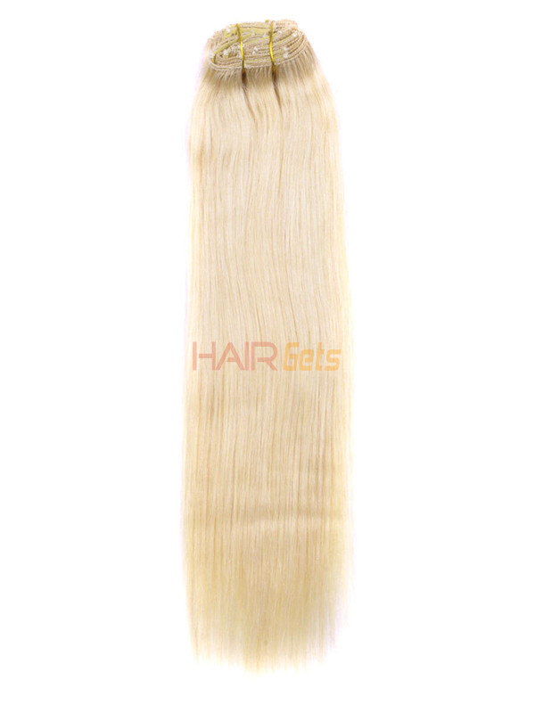 Bleach White Blonde(#613) Deluxe Straight Clip In Human Hair Extensions 7 Pieces 5