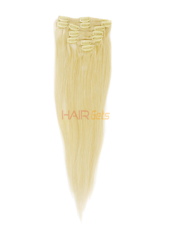 Bleach White Blonde(#613) Deluxe Straight Clip In Human Hair Extensions 7 Pieces 6