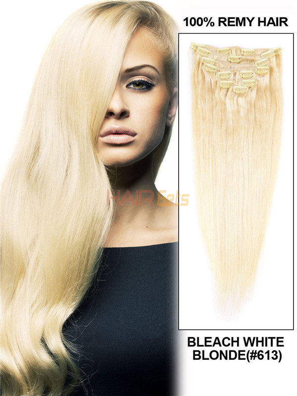 Bleach White Blonde(#613) Ultimate Straight Clip In Remy Hair Extensions 9 Pieces 0
