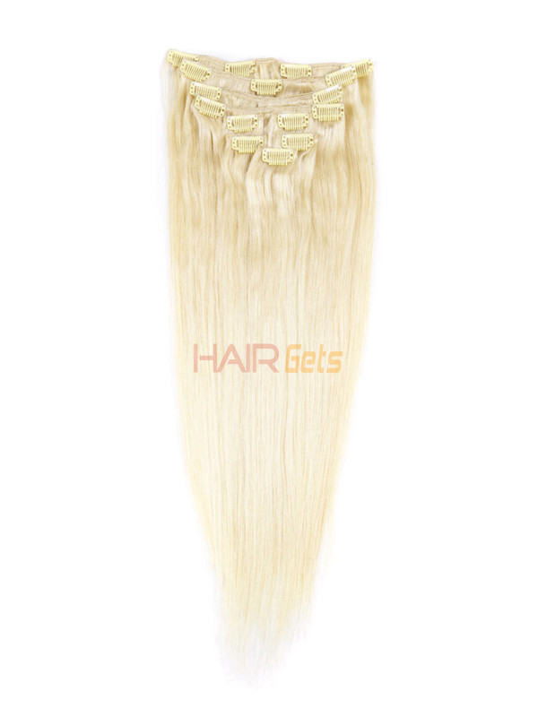 Bleach White Blonde(#613) Ultimate Straight Clip In Remy Hair Extensions 9 Pieces 1