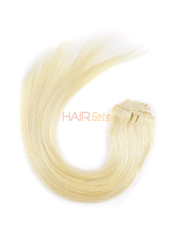 Bleach White Blonde(#613) Ultimate Straight Clip In Remy Hair Extensions 9 Pieces 3