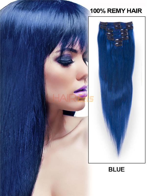 Blue(#Blue) Deluxe Straight Clip In Human Hair Extensions 7 Pieces 0
