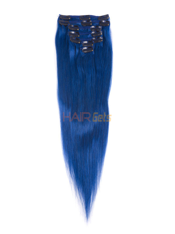 Blue(#Blue) Deluxe Straight Clip In Human Hair Extensions 7 Pieces 1