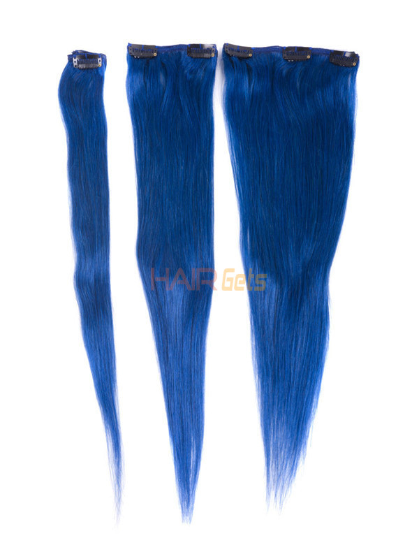 Blue(#Blue) Deluxe Straight Clip In Human Hair Extensions 7 Pieces 2