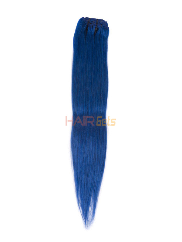 Blue(#Blue) Deluxe Straight Clip In Human Hair Extensions 7 Pieces 3