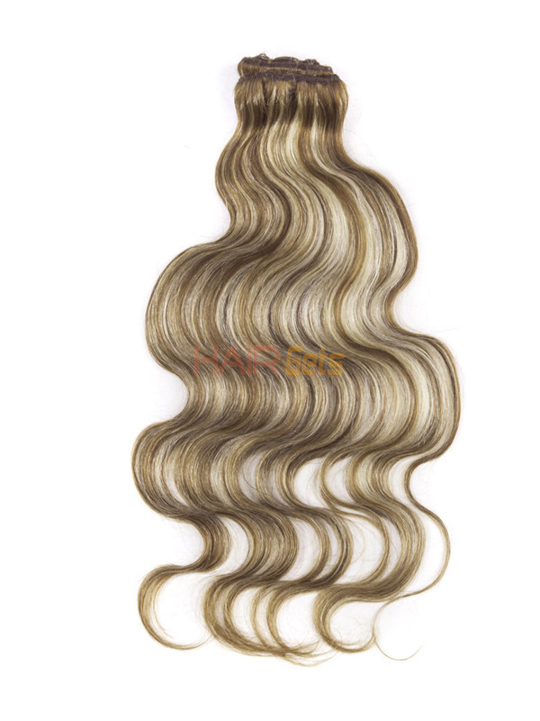 Chestnut Brown/Blonde(#F6-613) Premium Body Wave Clip In Hair Extensions 7 Pieces 1