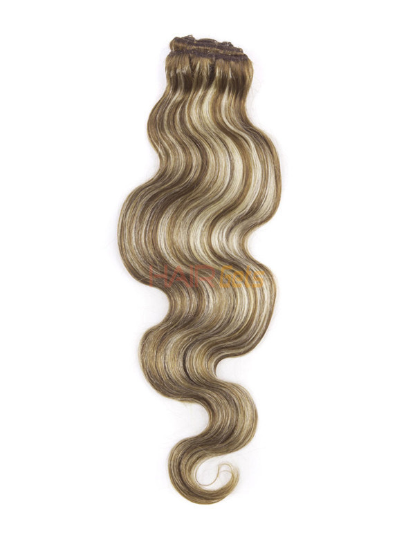 Chestnut Brown/Blonde(#F6-613) Ultimate Body Wave Clip In Remy Hair Extensions 9 Pieces 2
