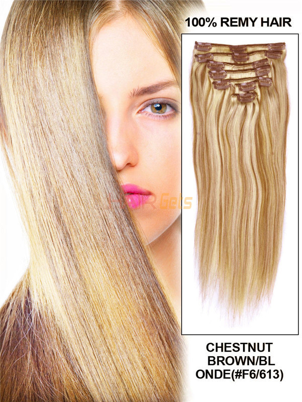 Chestnut Brown/Blonde(#F6-613) Deluxe Straight Clip In Human Hair Extensions 7 Pieces 0