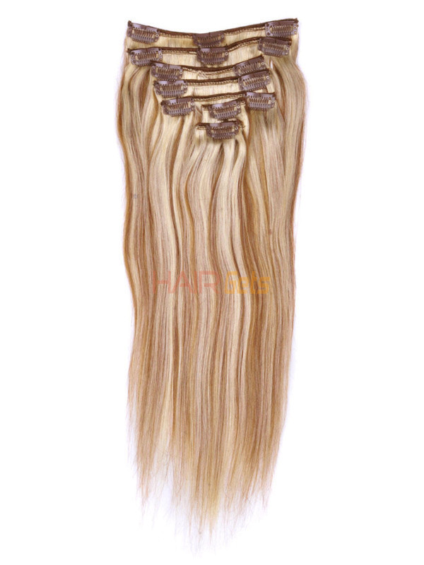 Chestnut Brown/Blonde(#F6-613) Deluxe Straight Clip In Human Hair Extensions 7 Pieces 2