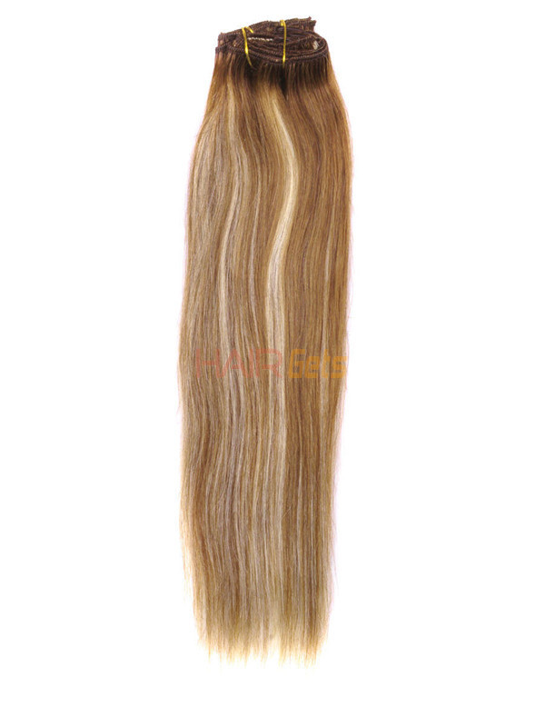 Chestnut Brown/Blonde(#F6-613) Deluxe Straight Clip In Human Hair Extensions 7 Pieces 3