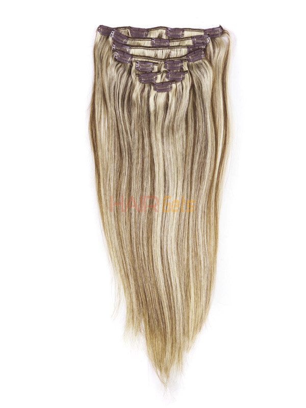 Chestnut Brown/Blonde(#F6-613) Ultimate Straight Clip In Remy Hair Extensions 9 Pieces 0