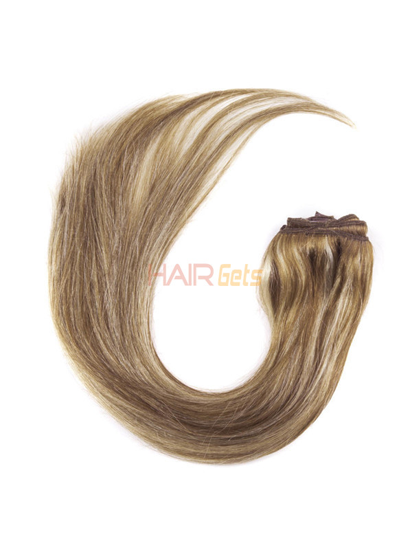 Chestnut Brown/Blonde(#F6-613) Ultimate Straight Clip In Remy Hair Extensions 9 Pieces 1