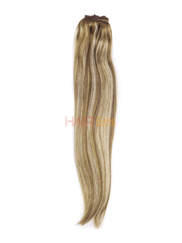 Chestnut Brown/Blonde(#F6-613) Ultimate Straight Clip In Remy Hair Extensions 9 Pieces 2