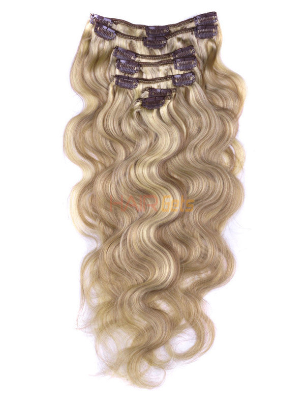 Golden Brown/Blonde(#F12-613) Deluxe Body Wave Clip In Human Hair Extensions 7 Pieces 0