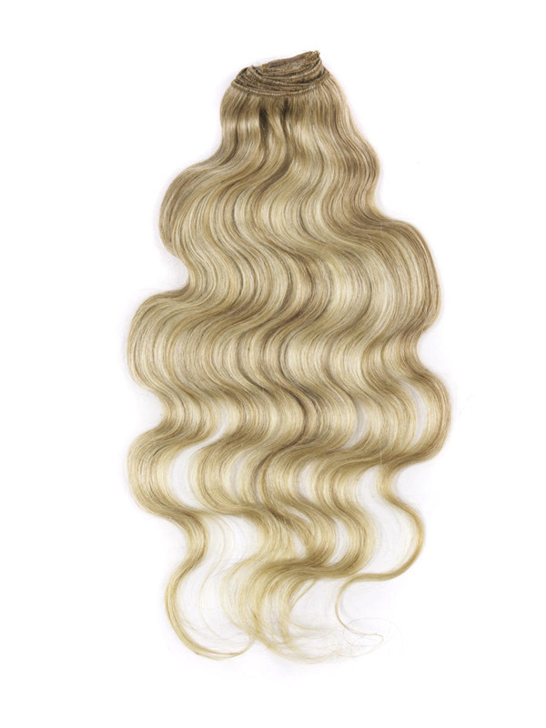 Golden Brown/Blonde(#F12-613) Ultimate Body Wave Clip In Remy Hair Extensions 9 Pieces cih105 1