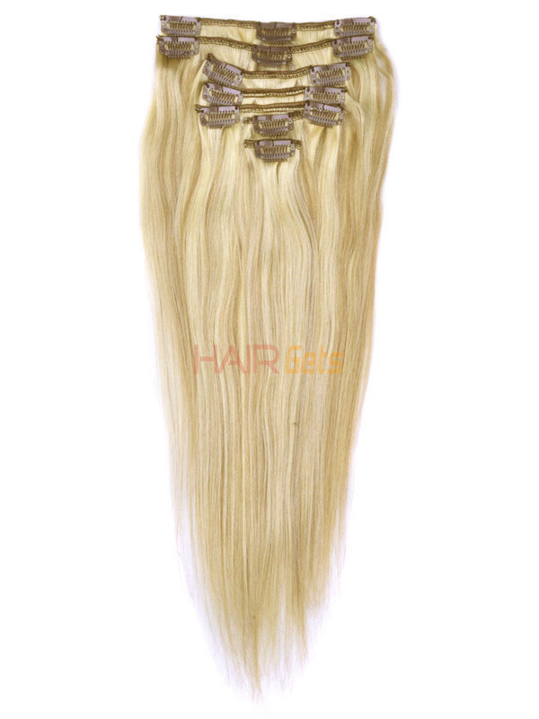 Golden Brown/Blonde(#F12-613) Deluxe Straight Clip In Human Hair Extensions 7 Pieces 0