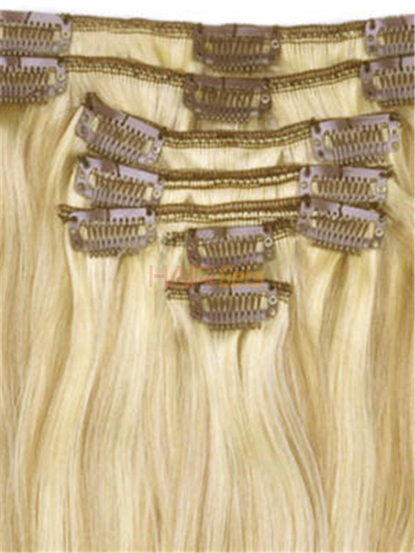 Golden Brown/Blonde(#F12-613) Deluxe Straight Clip In Human Hair Extensions 7 Pieces 1