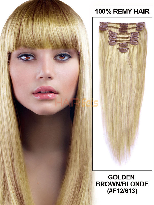 Golden Brown/Blonde(#F12-613) Deluxe Straight Clip In Human Hair Extensions 7 Pieces 2
