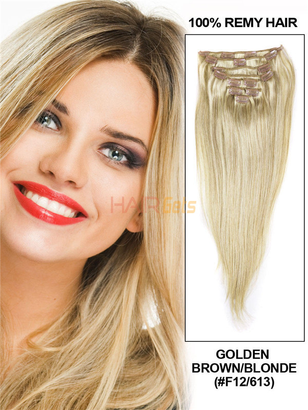 Golden Brown/Blonde(#F12-613) Ultimate Straight Clip In Remy Hair Extensions 9 Pieces 0