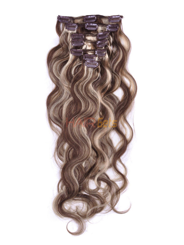 Brown/Blonde(#P4-22) Premium Body Wave Clip In Hair Extensions 7 Pieces 0