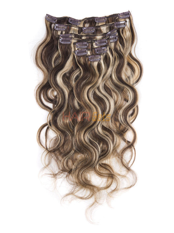 Brown/Blonde(#P4-22) Ultimate Body Wave Clip In Remy Hair Extensions 9 Pieces 0