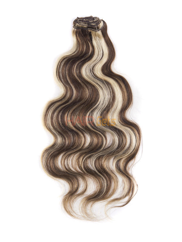 Brown/Blonde(#P4-22) Ultimate Body Wave Clip In Remy Hair Extensions 9 Pieces 1