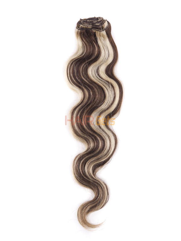 Brown/Blonde(#P4-22) Ultimate Body Wave Clip In Remy Hair Extensions 9 Pieces 2