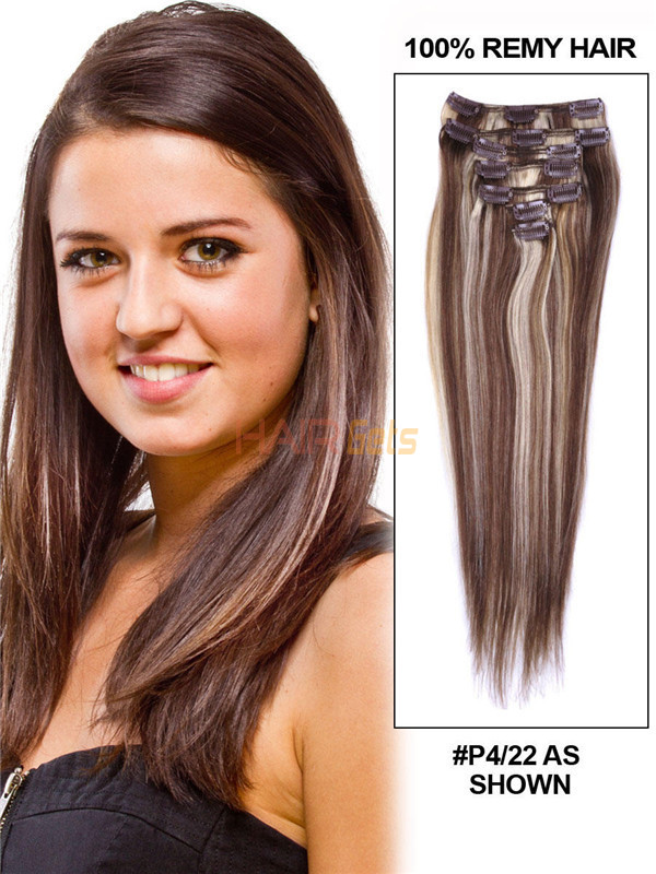 Brown/Blonde(#P4-22) Deluxe Straight Clip In Human Hair Extensions 7 Pieces 0