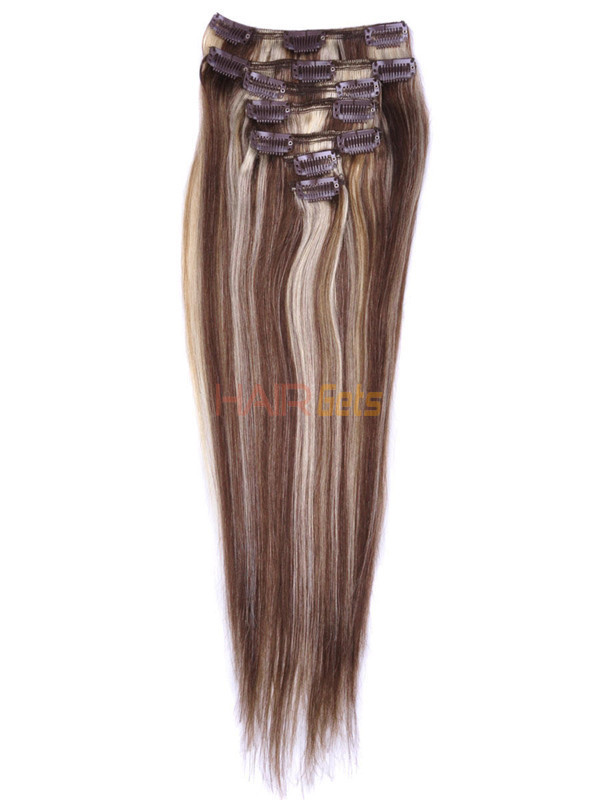 Brown/Blonde(#P4-22) Deluxe Straight Clip In Human Hair Extensions 7 Pieces 1