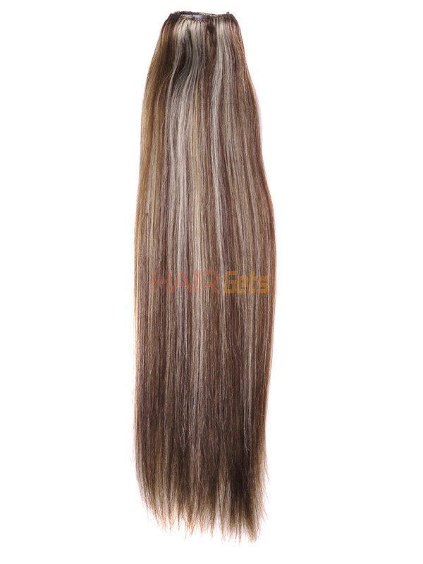 Brown/Blonde(#P4-22) Deluxe Straight Clip In Human Hair Extensions 7 Pieces 2