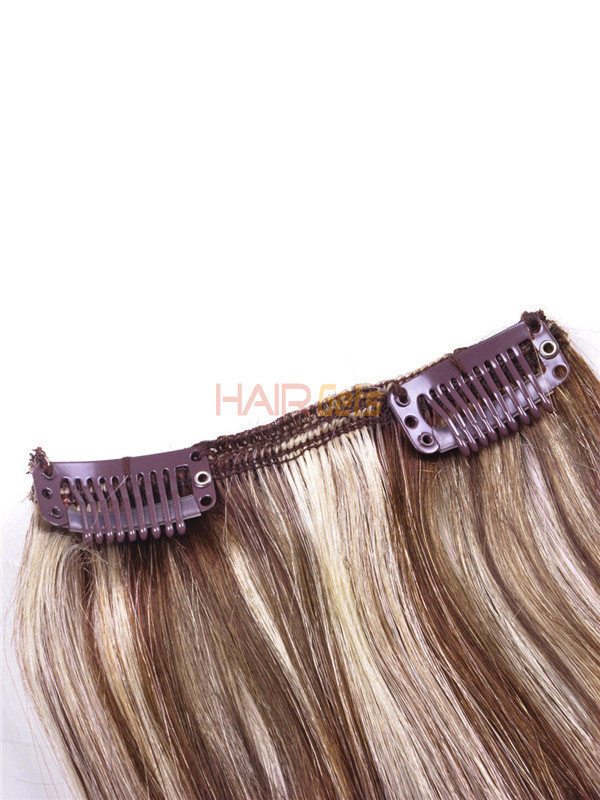 Brown/Blonde(#P4-22) Deluxe Straight Clip In Human Hair Extensions 7 Pieces 3