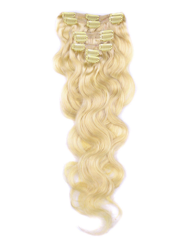 Ash/White Blonde(#P18-613) Premium Body Wave Clip In Hair Extensions 7 Pieces cih118 0