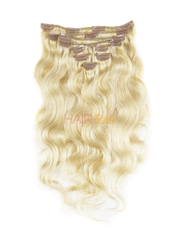 Ash/White Blonde(#P18-613) Ultimate Body Wave Clip In Remy Hair Extensions 9 Pieces 0