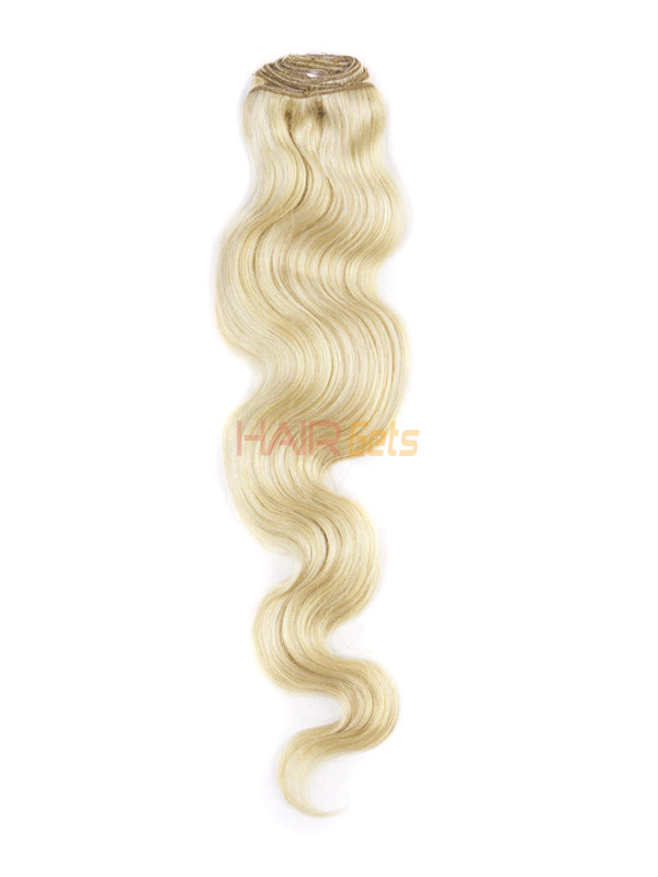 Ash/White Blonde(#P18-613) Ultimate Body Wave Clip In Remy Hair Extensions 9 Pieces 2
