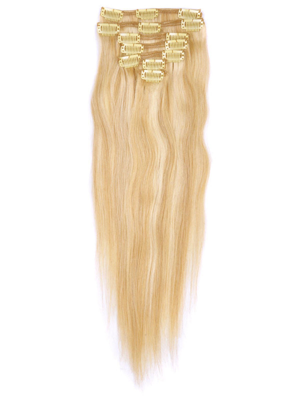 Ash/White Blonde(#P18-613) Premium Straight Clip In Hair Extensions 7 Pieces cih121 2