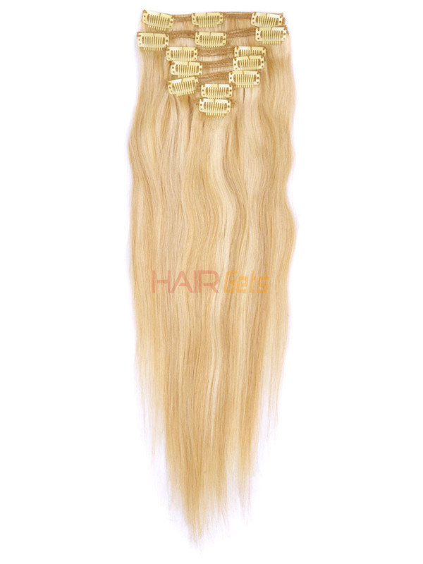 Ash/White Blonde(#P18-613) Deluxe Straight Clip In Human Hair Extensions 7 Pieces 2