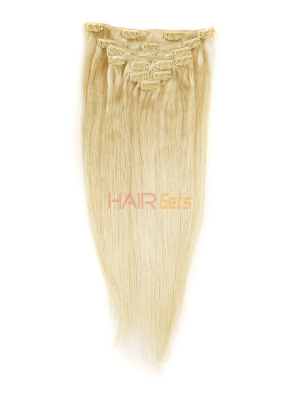 Ash/White Blonde(#P18-613) Ultimate Straight Clip In Remy Hair Extensions 9 Pieces 1
